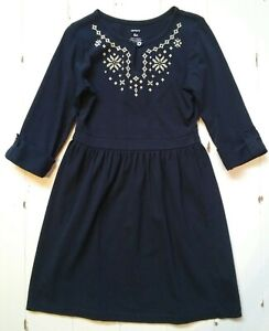 Carter's navy blue 3/4 sleeve dress w/ white embroidery detail girls' 6X