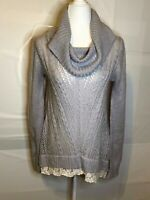 Hippie Rose Women's Gray Loose Knit Cowl Neck Sweater With Lace Hem Size XL