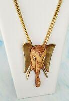 Vintage 1970's Unsigned LUCA RAZZA Elephant Head Pendant Gold Tone Necklace