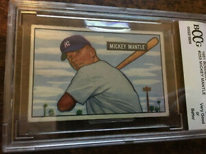1951 Bowman MICKEY MANTLE Rookie New York Yankees BGS BCCG 7