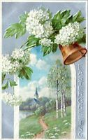 1910 Easter Greeing Bell Church White Flowers Embossed Postcard BX