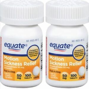 Generic Dramamine Equate Motion Sickness Dimenhydrinate 50 mg Nausea 200 tablets