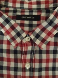 2L Shirt Check Designer JUNK de LUXE Long Or Turn up Sleeve Top 42 40 Chest