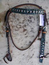 TEAL ZEBRA Medium Oil Premium Leather Western Horse Browband Headstall TACK NEW