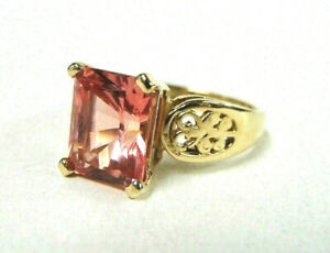 14K Yellow Gold Ring w/ 5 Carat Rectangular Solitaire Pink Sapphire Stone