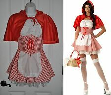 Sexy LITTLE RED RIDING HOOD Costume Dress+Cape sz M White Gingham HALLOWEEN