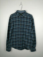 Vintage Mens Flannel Shirt Woolrich Size M Blue Check Long Sleeve 100% Cotton US