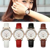 Ladies Women's Crystal Dial Analog Quartz Wrist Watch Leather Strap Wristwatch