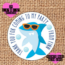 Personalised 24 cool shark party bag stickers sweet cone labels thank you ssg