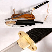 Japanese Tactical Wakizashi Samurai Sword 9260 Spring Steel Blade Brass Tsuba