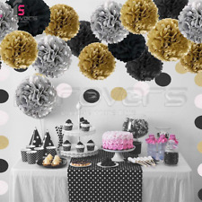 45Pcs Black Gold Theme Birthday Party Foil Latex Balloons Bunting Pompoms Sets