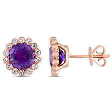 Amour 14k Rose Gold African Amethyst Stud Earrings
