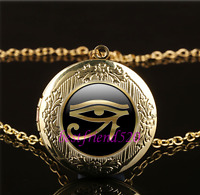 Gold Eye Of Ra Photo Cabochon Glass Gold Plating Locket Pendant Necklace