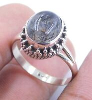 3.9Gm Natural Black Rutilated Quartz Ring 925 Solid Sterling Silver Size 8 K2005