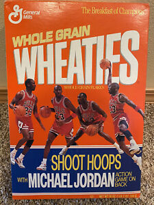 Michael Jordan Wheaties Unopened Shoot Hoops With MJ Bulls Cereal Box  1991