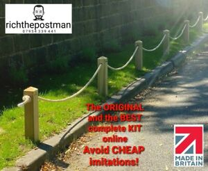 KIT Wooden Post and Rope Kit, picket fence, barrier, NO dig, HARD or SOFT GROUND