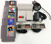 Nintendo NES Top Loader System Bundle (2 Controllers, 5 Games) Cleaned Tested