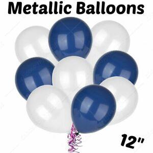 12'' Pearlised balloons BLUE&WHITE wedding birthday party baby shower Boys Balon