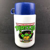 1990 Vintage Teenage Mutant Ninja Turtles Thermos Lunch Mug Blue Lid Raphael