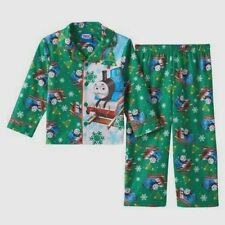 NEW 2T Boy THOMAS & FRIENDS Green Christmas Holiday Brushed Flannel 2-pc Pajamas