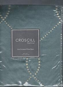 Croscill Chantal Misty Blue Ivory Satin Ogee Design Euro Sham New 1st Quality