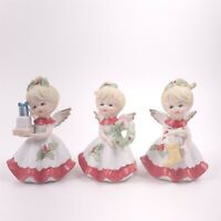 Homco Set of 3 Angels Figurines Package & Wreath & Stocking # 5402