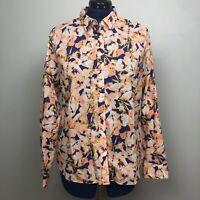 J Crew The Perfect Shirt Women Size XL Floral Button Down Blouse Top 100% Cotton