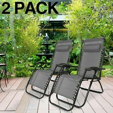 2 X RECLINING SUN LOUNGER OUTDOOR GARDEN FOLDING ZERO GRAVITY CHAIR ADJUSTABLE G