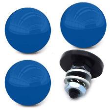 "4 Custom Black ""Blue Top""  License Plate Frame Bolts - Motorcycle Tag Screws"