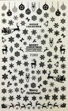 Nail Art 3D Decal Stickers Black Snowflakes Bells Santa Reindeer Christmas F283
