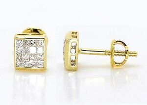 Mens Ladies 14K Yellow Gold Bezel Princess Cut 6MM Diamond Stud Earrings 0.75 Ct