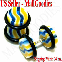1148 Fake Cheaters Faux Illusion Ear Plugs 16G Wavy Stripes Blue Yellow 0G 8mm