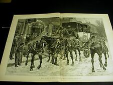 Thaddeus Goodyear OLD POST RD. NY to BOSTON HORSE & STAGE COACH 1886 Large Print