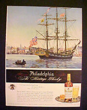 1945 Philadelphia Blened Whisky Military Man-of-War Ship Ameican Flag Trade AD
