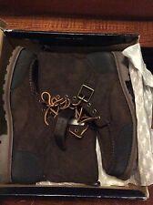 Polo Ralph Lauren Woolton Boots Buckle Brown Black Size 13 D Dress Strap Buckle