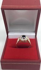 9ct Gold Sapphire & Diamond ring size M