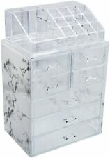 Cosmetic Makeup and Jewelry Storage Organizer Case Display Marble Print Holder