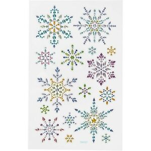 Snow Flake Stickers Rhinestone 1 sheet of 16 Embellishment Scrapbooking CR64