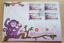 China Macau 2016 Zodiac Lunar Year of Monkey Frama Label Stamp FDC 中国澳门生肖猴年邮票首日封