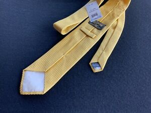 NWT New BEN SILVER Yellow Grenadine Tie Handmade in France