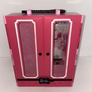 2013 Mattel Barbie Closet Style Ultimate Carrying Case Pink Black Wardrobe