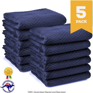 5 PACK Heavy Duty 1.8m x 3.4m Quilted Moving Blankets Furniture Removalist Pads