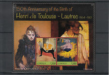 Liberia 2014 MNH Henri de Toulouse-Lautrec 150th Anniv Birth 2v S/S II Paintings