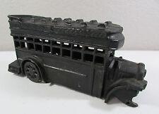 """Vtg Heavy Large Black Toy Cast Iron Metal Double Decker Passenger Bus 11"""" Long"""