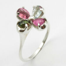 Tourmaline Flower Finger Ring Sz 9.5 15 mm 3.2 Grams 925 Sterling Silver Bijoux