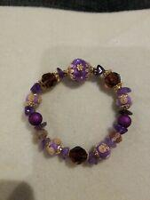 Purple Beaded Stretch Bracelet Lilah Ann Beads Amethyst Czech Bali
