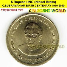 C.SUBRAMANIAM BIRTH CENTENARY 1910-2010 Nickel-Brass Rs 5 UNC # 1 Coin