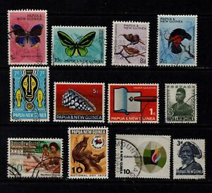 Papua New Guinea Postage Stamps Small Used Selection Clean Stamps (12v)
