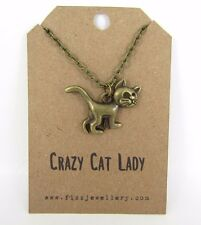 """Bronze """"Crazy Cat Lady"""" Kitty Necklace Quote Gift Message Card"""