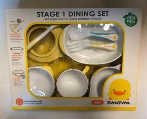 Piyo Piyo Stage 1 Baby/Toddler Training Dining Plate Bowl Cup Mug Fork Spoon Set